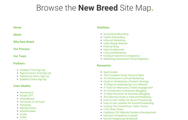 New Breed Sitemap