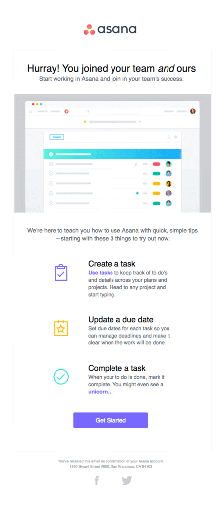 Asana's welcome email